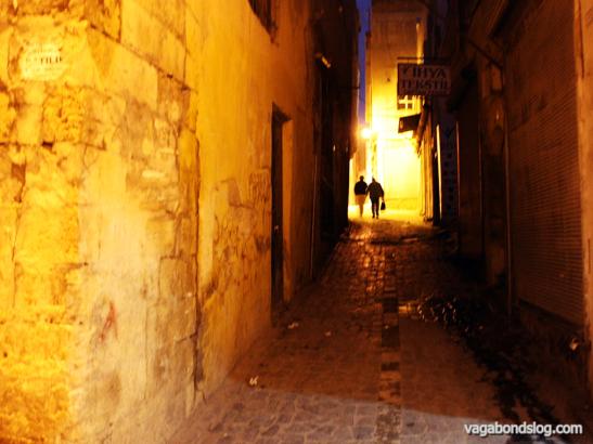 In dim old town alleyways.
